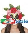 Máscara Catrina com flores rosas-vermelhas Acessórios para disfarces de Carnaval ou Halloween