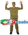 Fato Prisioneiro Presidiario Amarelo Adulto Loja de Fatos Carnaval, Disfarces Artigos para Festas Acessórios de Carnaval Mascaras Perucas 167 acasadocarnaval.pt