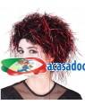 Peruca Preta Madeixa Vermelhas, Loja de Fatos Carnaval, Disfarces, Artigos para Festas, Acessórios de Carnaval, Mascaras, Perucas 412 acasadocarnaval.pt