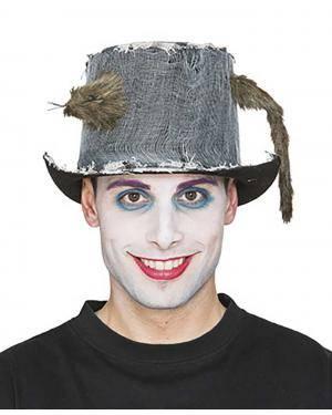 Chapéu com rata 13x31x25,5cm.  Acessórios para disfarces de Carnaval ou Halloween
