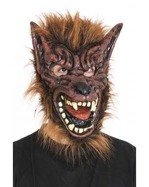 Máscara homem lobo castanha Acessórios para disfarces de Carnaval ou Halloween