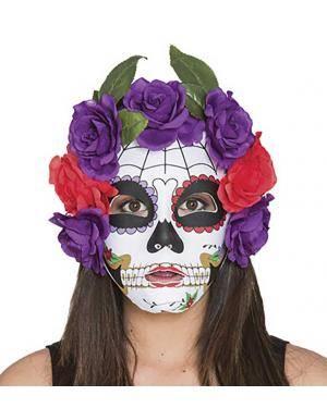 Máscara catrina com flores lilases-vermelhas Acessórios para disfarces de Carnaval ou Halloween