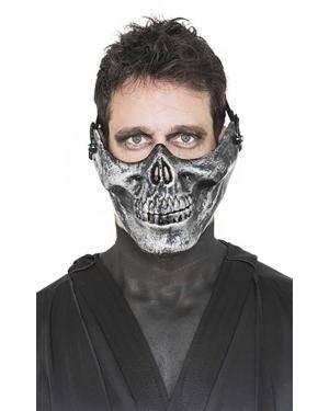 Máscara meia caveira prata Acessórios para disfarces de Carnaval ou Halloween