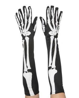 Luvas compridas esqueleto 50x12cm. Acessórios para disfarces de Carnaval ou Halloween