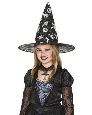 Chapéu bruxa impressão prata 42øx33cm. Acessórios para disfarces de Carnaval ou Halloween