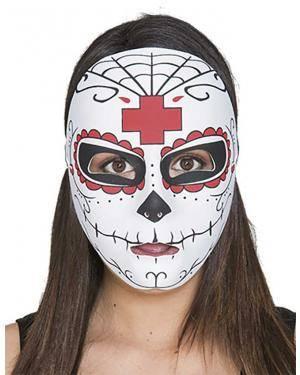 Máscara Catrina cruz vermelha Acessórios para disfarces de Carnaval ou Halloween