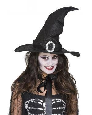Chapéu bruxa imitação couro Acessórios para disfarces de Carnaval ou Halloween