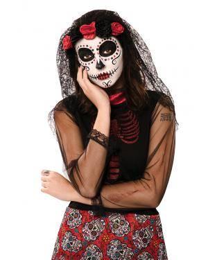 Adereço da cabeça e véu dia dos mortos Acessórios para disfarces de Carnaval ou Halloween