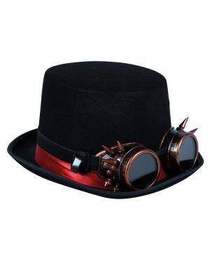 Chapéu steampunk com óculos de farpas Acessórios para disfarces de Carnaval ou Halloween