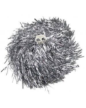 2 Pompons metalizado prata Acessórios para disfarces de Carnaval ou Halloween