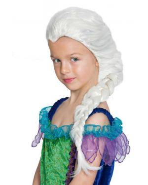 Peruca infantil branca com trança Acessórios para disfarces de Carnaval ou Halloween