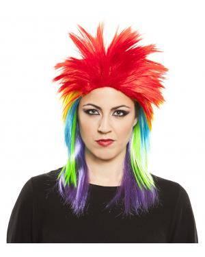 Peruca punkie cores em caixa Acessórios para disfarces de Carnaval ou Halloween