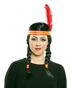 Peruca índia em caixa Acessórios para disfarces de Carnaval ou Halloween