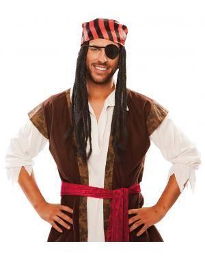 Peruca pirata rastas em caixa Acessórios para disfarces de Carnaval ou Halloween