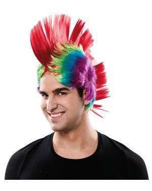 Peruca punk em caixa Acessórios para disfarces de Carnaval ou Halloween