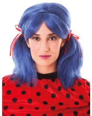 Peruca com rabos de cavalo azul Acessórios para disfarces de Carnaval ou Halloween