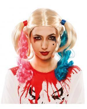 Peruca com rabos de cavalo azul-rosa Acessórios para disfarces de Carnaval ou Halloween