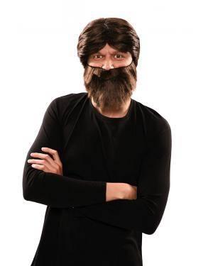Peruca e barba troglodita em caixa Acessórios para disfarces de Carnaval ou Halloween