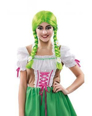 Peruca verde com tranças e flores em caixa Acessórios para disfarces de Carnaval ou Halloween