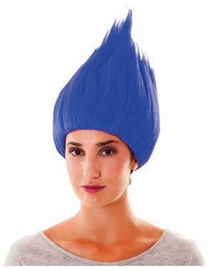Peruca trol azul em saco Acessórios para disfarces de Carnaval ou Halloween