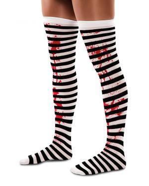 Meias riscas pretas ensanguentadas Acessórios para disfarces de Carnaval ou Halloween