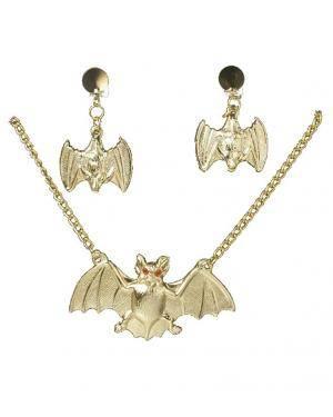 Colar e brincos morcego Acessórios para disfarces de Carnaval ou Halloween
