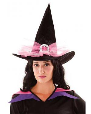 Chapéu bruxa preto/lilás Acessórios para disfarces de Carnaval ou Halloween