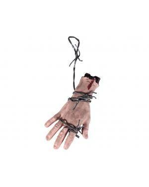 Mão sangrenta com arame 22,5x10x5cm. Acessórios para disfarces de Carnaval ou Halloween