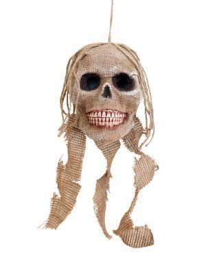 Caveira pendurada sem luz 40cm. Acessórios para disfarces de Carnaval ou Halloween