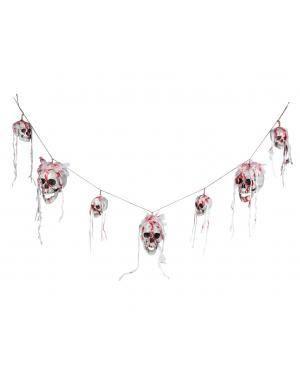 Grinalda caveiras sangrentas 180cm. Acessórios para disfarces de Carnaval ou Halloween