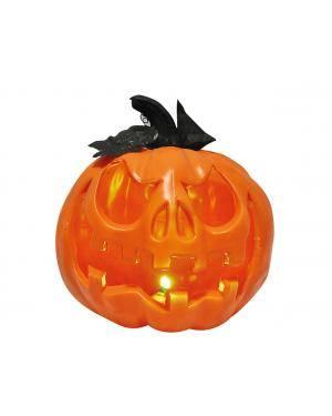 Abóbora plástico 20x20x23cm. Acessórios para disfarces de Carnaval ou Halloween