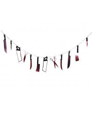 Grinalda facas ensanguentadas 200cm. Acessórios para disfarces de Carnaval ou Halloween