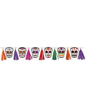 Grinalda dia dos mortos 25x182cm. Acessórios para disfarces de Carnaval ou Halloween
