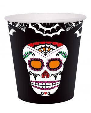 Copo dia dos mortos 9 Oz. 255 ml. 6 un. Acessórios para disfarces de Carnaval ou Halloween