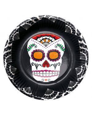 Prato dia dos mortos 22,5cm ø. 6 un. Acessórios para disfarces de Carnaval ou Halloween