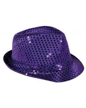 Chapéu fedora lantejoulas lilás Acessórios para disfarces de Carnaval ou Halloween