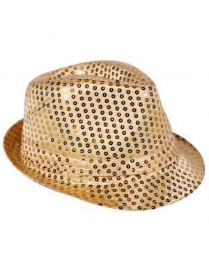 Chapéu fedora lantejoulas ouro Acessórios para disfarces de Carnaval ou Halloween