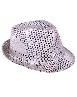 Chapéu fedora lantejoulas prata Acessórios para disfarces de Carnaval ou Halloween