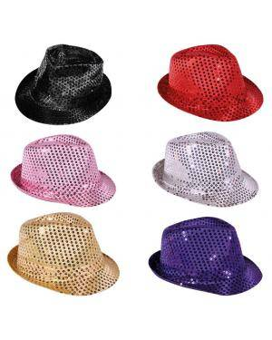 Chapéu fedora lantejoulas preto Acessórios para disfarces de Carnaval ou Halloween