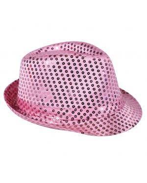 Chapéu fedora lantejoulas rosa Acessórios para disfarces de Carnaval ou Halloween