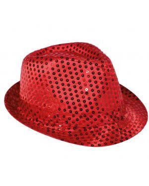 Chapéu fedora lantejoulas vermelho Acessórios para disfarces de Carnaval ou Halloween