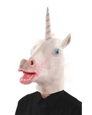 Máscara unicórnio látex Acessórios para disfarces de Carnaval ou Halloween