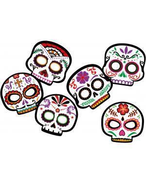 Máscara dia dos mortos 6 un. Acessórios para disfarces de Carnaval ou Halloween