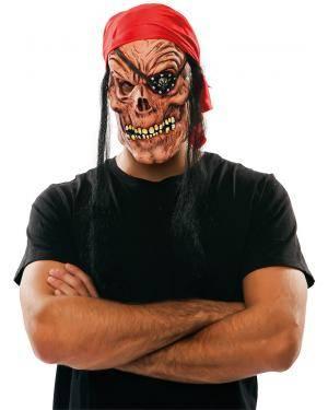 Máscara pirata zombie látex Acessórios para disfarces de Carnaval ou Halloween