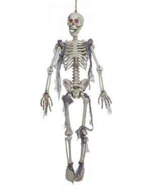 Esqueleto pendurado com luz 91x24x11cm. Acessórios para disfarces de Carnaval ou Halloween