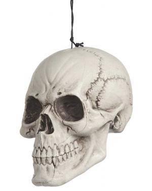 Crânio plástico pendurado 18x16x27cm. Acessórios para disfarces de Carnaval ou Halloween