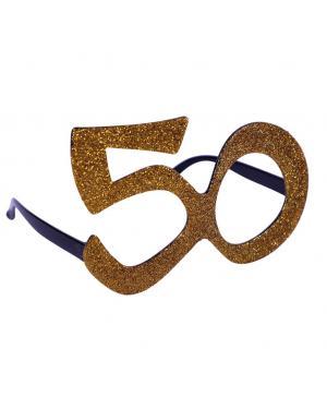 Óculos 50 aniversário ouro Acessórios para disfarces de Carnaval ou Halloween