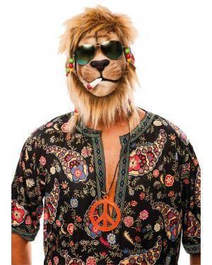 Máscara látex leão jamaicano Acessórios para disfarces de Carnaval ou Halloween
