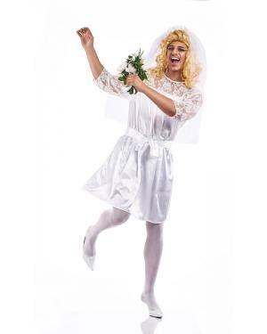 Fato de Noiva Homem Adulto Tamanho XL para Carnaval