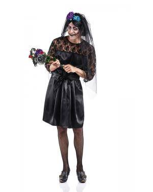 Fato de Noiva Macabra Adulto Tamanho XL para Carnaval